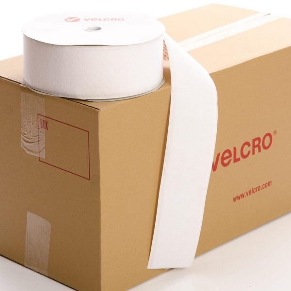 VELCRO® Brand PS14 Stick-on 100mm tape WHITE LOOP case of 9 rolls