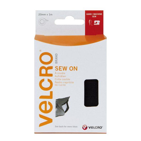 VELCRO® Brand Sew-on 1m x 20mm tape BLACK