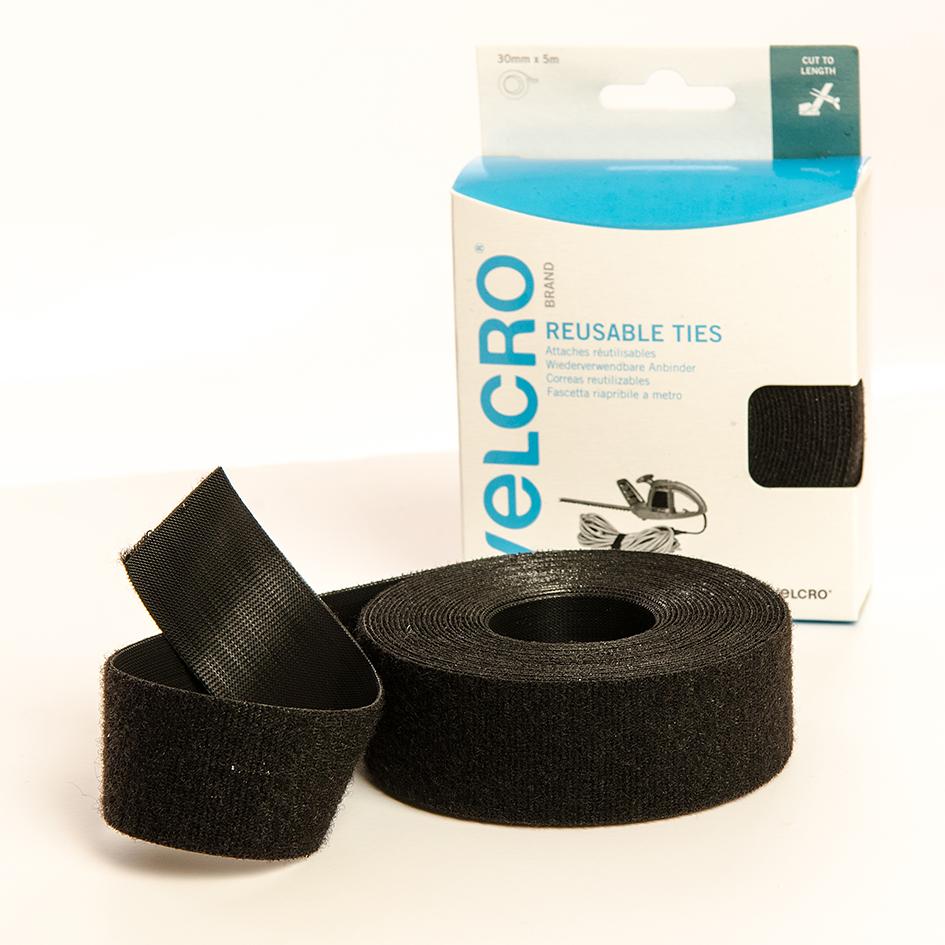 VELCRO® Brand cut-to-size ties 5m x 30mm roll BLACK