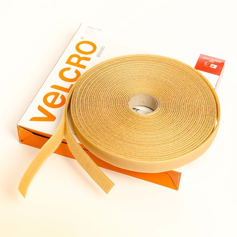 VELCRO® Brand Sew-on 10m x 20mm tape BEIGE