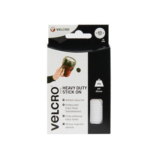 VELCRO® Brand 12 heavy duty Stick-on coins 45mm WHITE